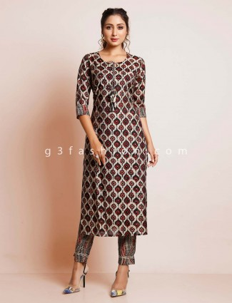 Maroon printed cotton suit for women