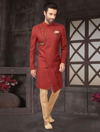 Maroon raw silk indo western with churidar