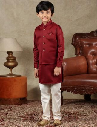 Maroon silk boys waistcoat set for parties