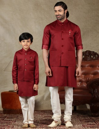 Maroon silk father and son waistcoat set for parties