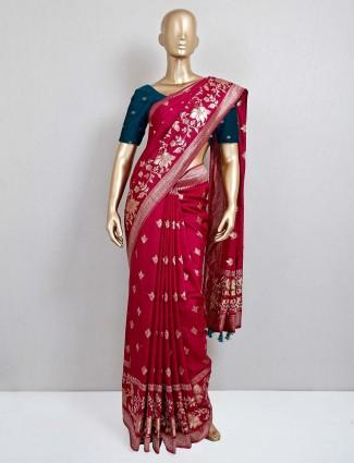 Maroon wedding saree in dola silk