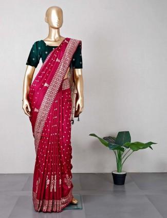 Maroon wedding saree in silk
