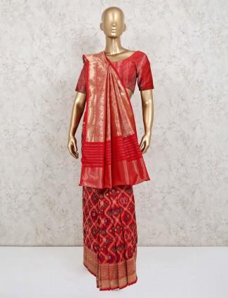 Maroon wedding session patola silk