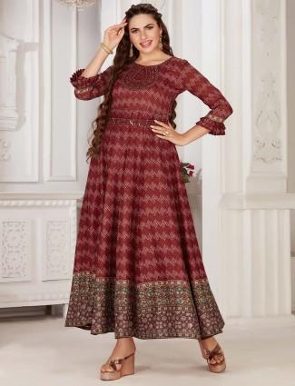 Marron colour festive wear cotton kurti