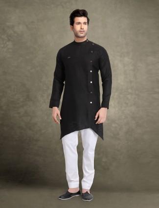 Mens black sober cotton solid kurta suit