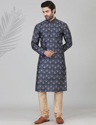 Mens cotton silk kurta suit in navy printed patern