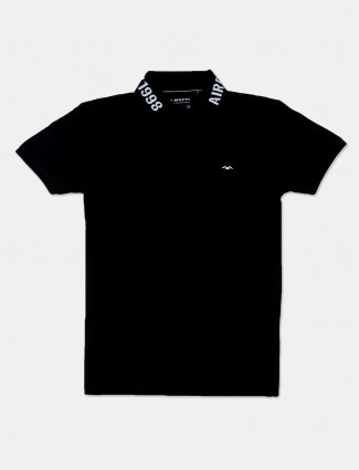 Mufti casual cotton black solid mens polo t-shirt
