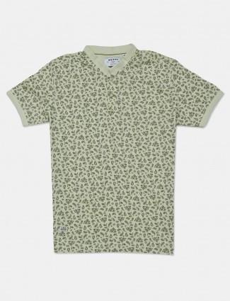 Mufti pista green cotton slim fit t-shirt