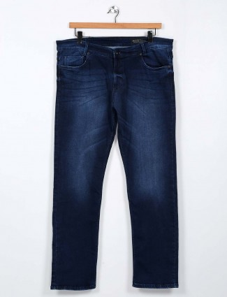 Mufti slim fit washed dark blue jeans
