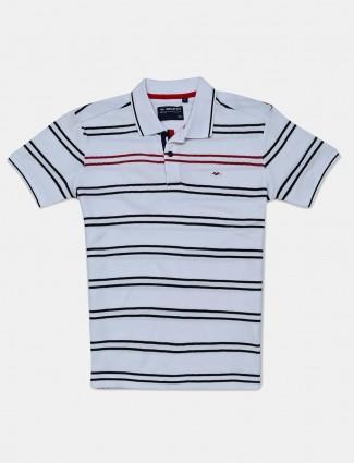 Mufti white cotton slim polo fit t-shirt