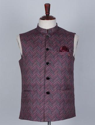 Multi printed silk waistcoat for men