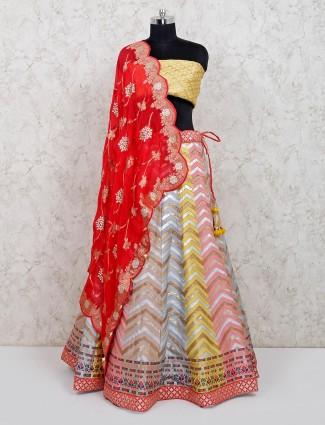 Multicolour unstitched wedding lehenga choli