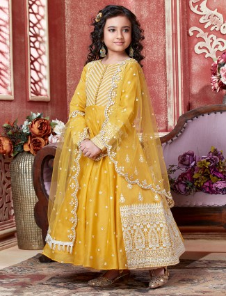 Mustard anarkali suit for little girl with odhani