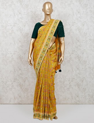 Mustard patola silk party wear saree