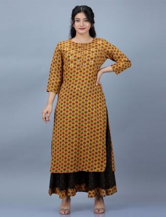 Mustard punjabi style printed cotton festive wear palazzo suit