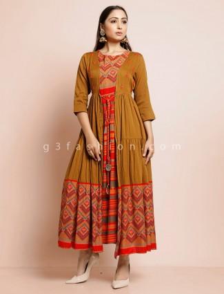Mustard yellow jacket style kurti in cotton