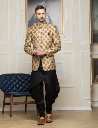 Mustard yellow printed party wear indo western