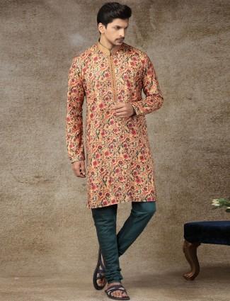 Mustard yellow silk printed kurta suit festive wear