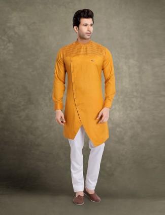 Mustard yellow solid bandhagala kurta suit