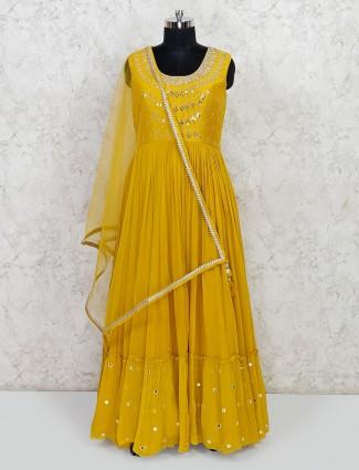 Mustard yellow wedding wear anarkali suit