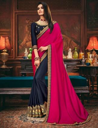 navy and magenta colored half and half saree in satin