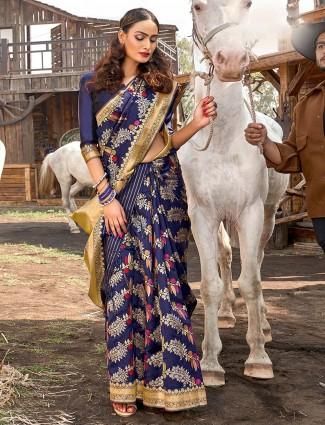 Navy blue banarasi silk wedding wear saree