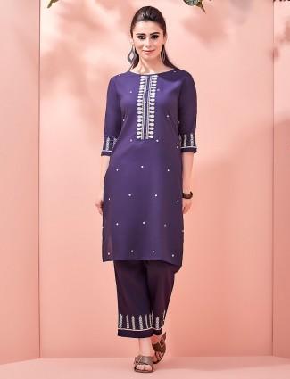 Navy blue color kurta pajama
