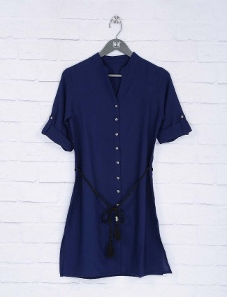 Navy blue cotton casual wear top