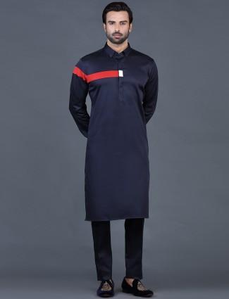 Navy blue cotton plain mens pathani suit