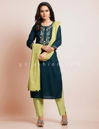 Navy blue palazzo suit in cotton