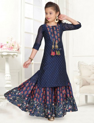 Navy blue silk party wear printed sharara suit