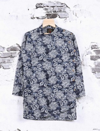 Navy color printed cotton pathani suit