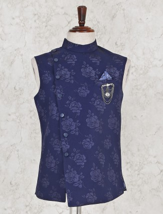 Navy color printed party terry rayon waistcoat