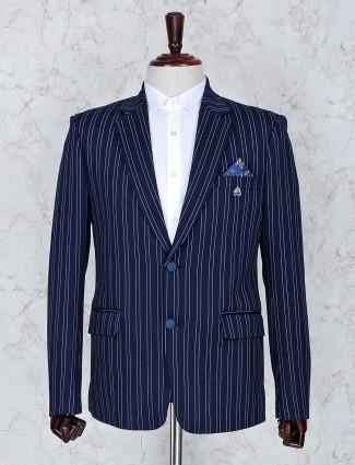 Navy color terry rayon stripe pattern blazer