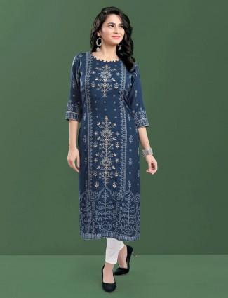 Navy cotton causal wear printed kurti