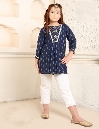 Navy cotton festive printed pant salwar suit