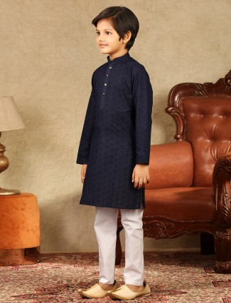 Navy cotton festive wear boys kurta suit