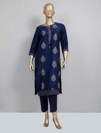 Navy cotton festive wear pant style salwar suit