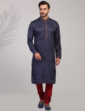 Navy cotton silk slim fit printed wear kurta suit