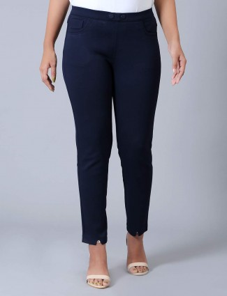 Navy cotton solid jeggings