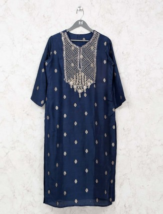 navy cotton tunic with sequins,gota work
