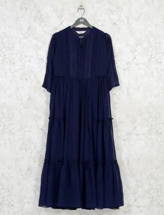 Navy georgette layered casual wear kurti