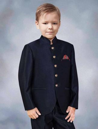 Navy hue terry rayon party wear jodhpuri suit