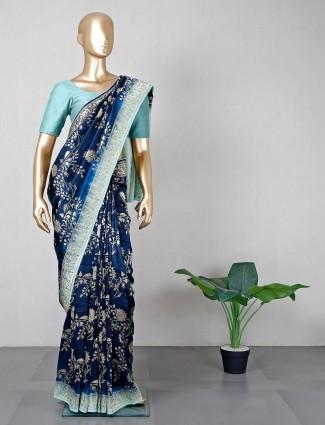 Navy hue wedding saree for women