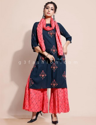Navy kurti with sharara for festival in cotton