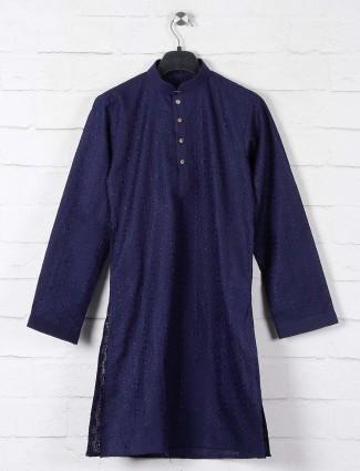 Navy lucknowi thread woven boys cotton kurta suit