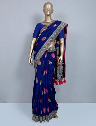Navy muga silk saree for festive wear