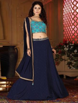 Navy party and wedding wear lehenga choli in cotton silk