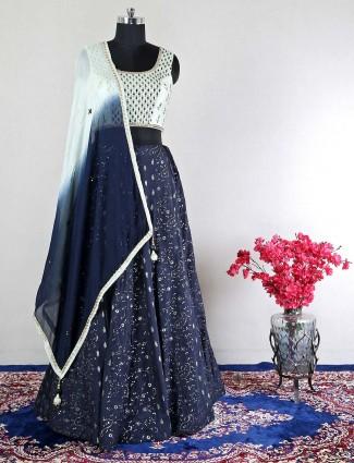Navy pretty raw silk wedding wear lehenga choli
