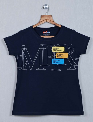 Navy printed cotton casual wear top